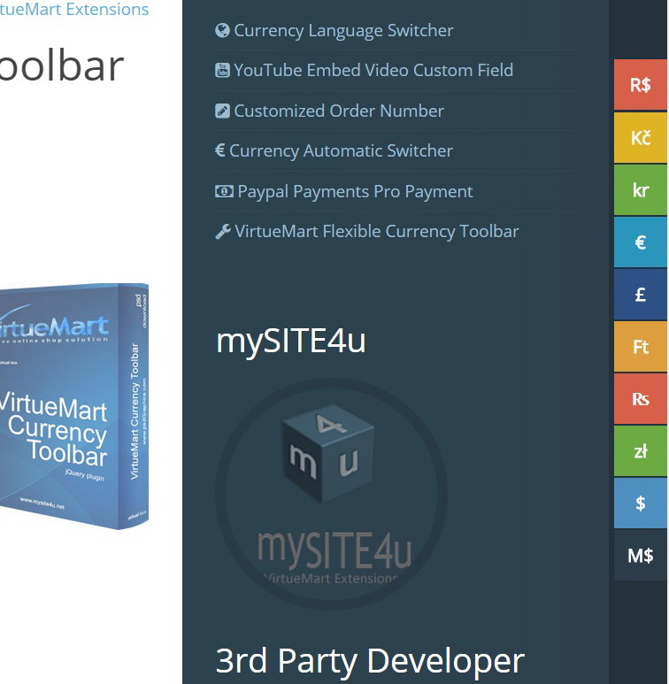 VirtueMart Currency Toolbar Screenshot