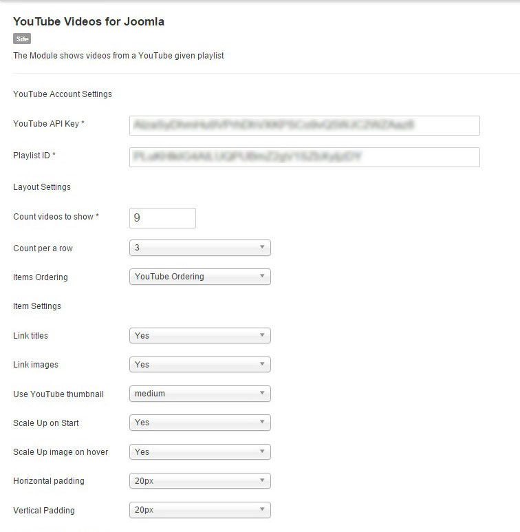 Joomla YouTube module: Parameters 1 page